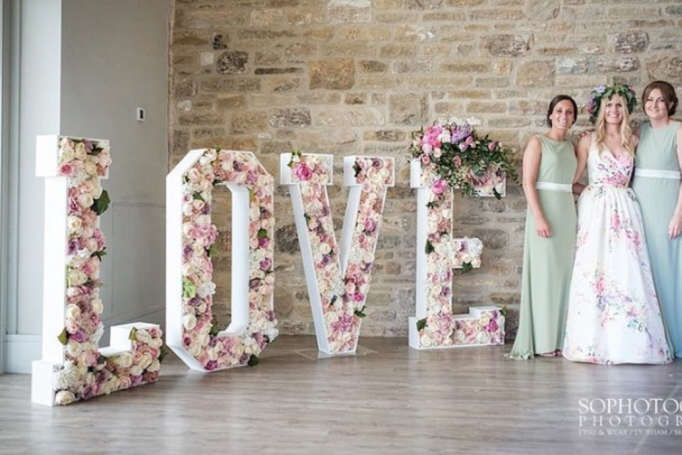 Wedding Decor Hire Yorkshire - Floral Love Letters