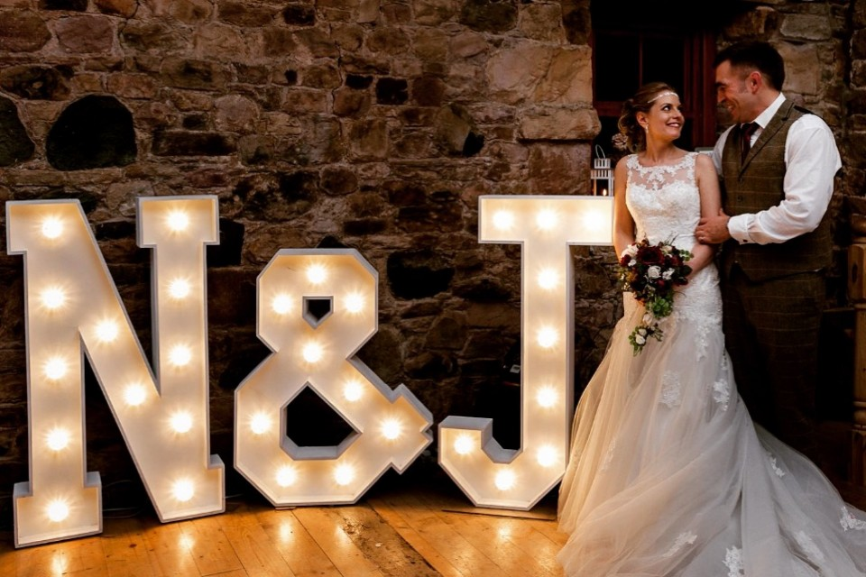 Wedding Decor Hire Yorkshire - White Initials