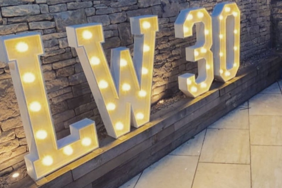 Surrey Wedding Decor, Styling & Prop Hire - White Letters And Numbers