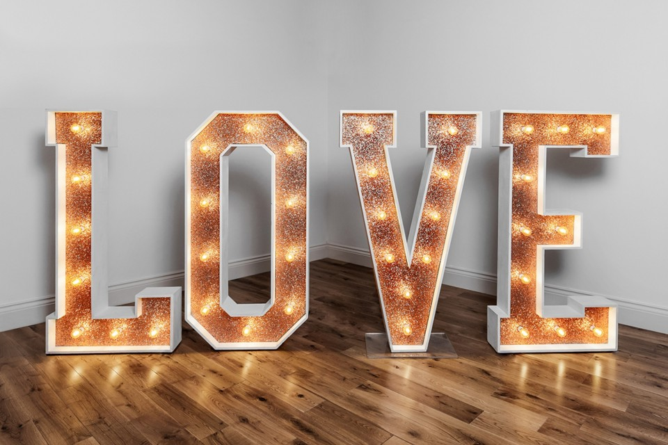 Farnham Wedding Decor, Styling & Prop Hire - Copper Glitter Love