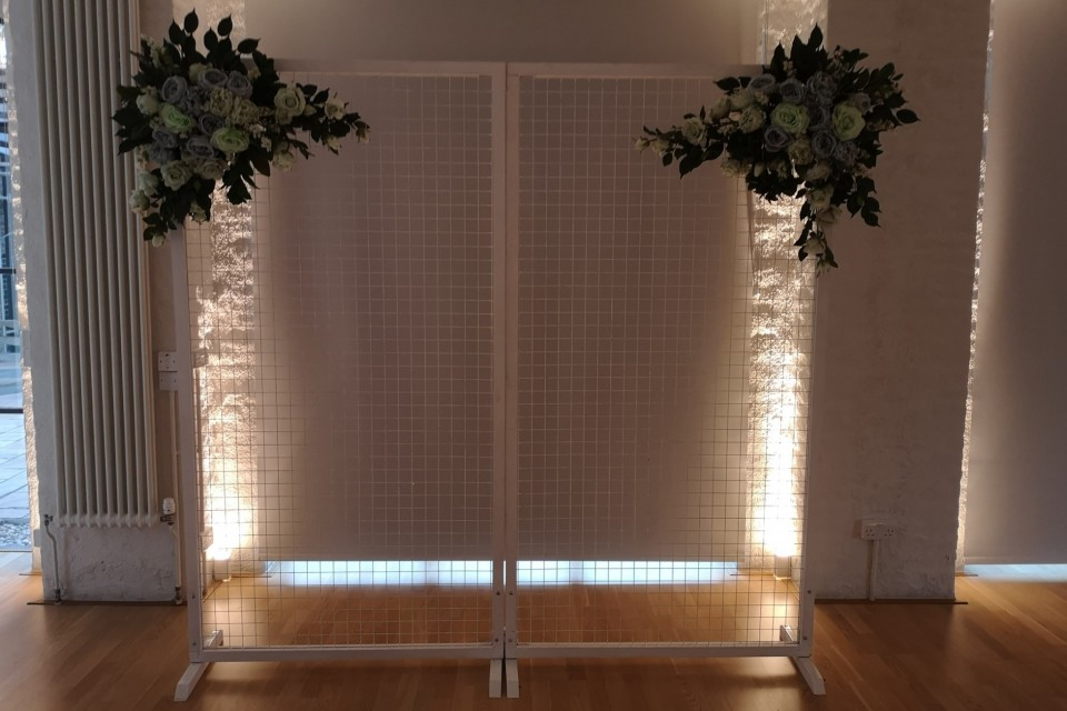 Chichester Wedding Decor, Styling & Prop Hire - White Mesh Backdrop