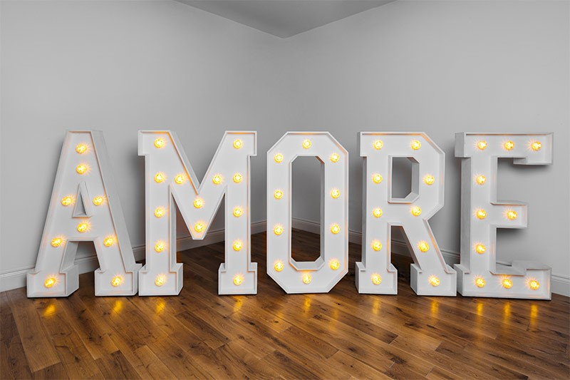 The best quality light up love letters to hire in yorkshire