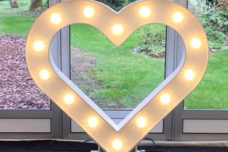 Light Up Wedding Heart to Hire in Yorkshire